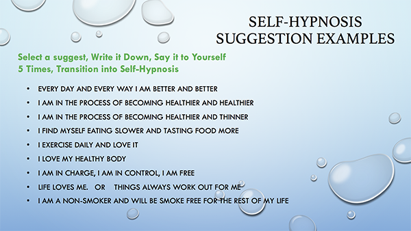 Self Hypnosis Suggestions Examples
